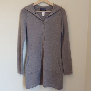 Patagonia Gray Knit Merino Wool Tunic Button Front Hooded Sweater Size XS